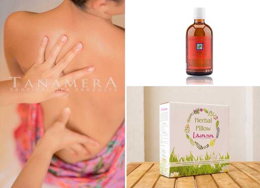 chăm sóc đau lưng bằng túi thảo mộc và dầu massage